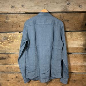 Camicia Gianni Lupo con Colletto in Lino Blu Ceruleo