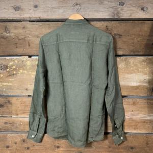 Camicia Gianni Lupo con Colletto in Lino Verde Militare