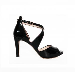 Sandalo nero lucido semichiuso Melluso