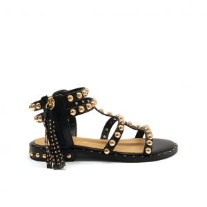 Sandalo nero con borchie Gardini