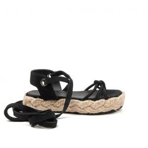 Sandalo nero in corda Janet & Janet