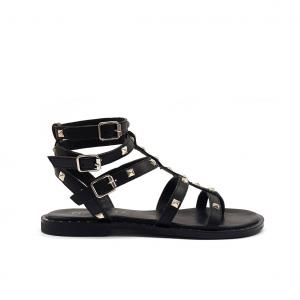 Sandalo gladiatore nero con borchie Mosaic