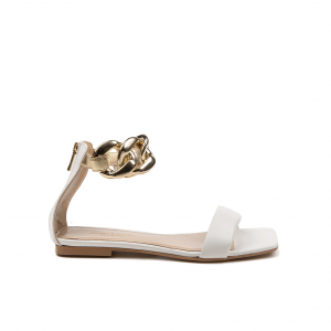 Sandalo bianco con catena Janet & Janet
