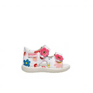 Sandalo bianco/floreale Falcotto
