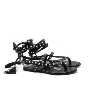 Sandalo alla schiava nero con borchie Mosaic