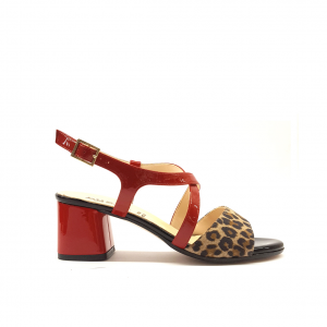Sandalo rosso/animalier Luzzi