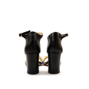 Sandalo nero/animalier Luzzi