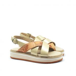 Sandalo platform platino/geo 1a Classe by Alviero Martini