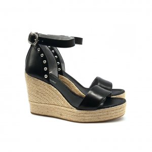 Sandalo nero con zeppa corda NeroGiardini