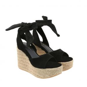 Sandalo nero con zeppa corda Tosca Blu