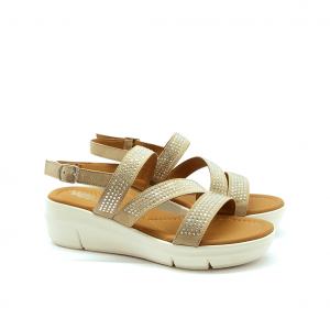 Sandalo sabbia con zeppa Melluso