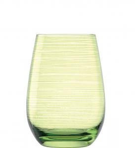 Set 6 bicchieri acqua tumbler in vetro cristallino Verde Twister ml 465