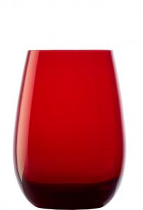 Set 6 bicchieri acqua in vetro cristallino rosso ml 465