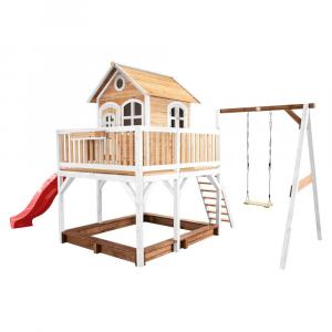 Casetta per Bambini in Legno di Cedro con sabbiera altalena singola LIAM AXI Playhouse Brown/white