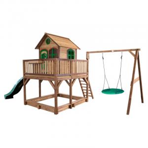 Liam Axi Playhouse con altalena Nest Brown/green e Scivolo verde Casetta per bambini