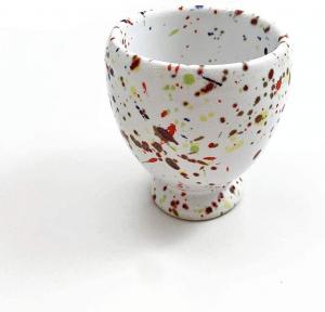 Tazzina da caffè in ceramica di Faenza Collezione Pois realizzata a mano