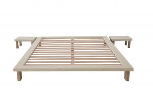 Letto Tatami Matrimoniale  in legno Naturale alto 25 cm con comodini inclusi | TAMI