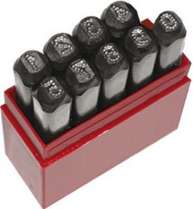 Punzoni nucleari puntinati in acciaio per marcatura mm 6 - Serie 9 Numeri 0-9
