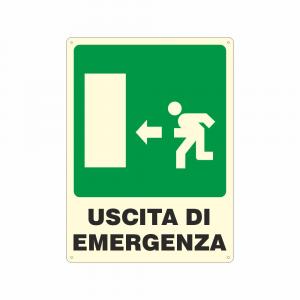 Cartello luminescente uscita di emergenza a sinistra
