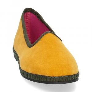 Le Babe Slipon friulane velluto giallo verde-3