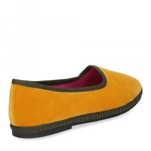 Le Babe Slipon friulane velluto giallo verde-5