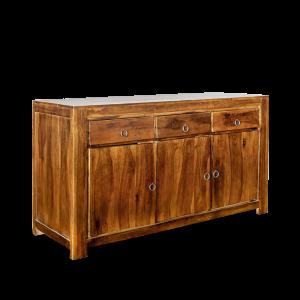 Buffet in legno di palissandro indiano con 3 cassetti e 3 ante