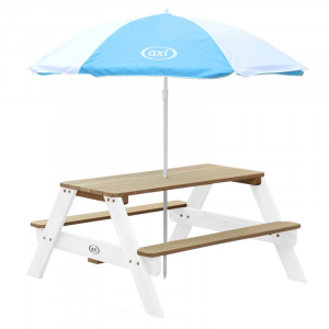 Tavolo da picnic Nick Axi Playhouse Marrone/Bianco con ombrellone Blue/Bianco