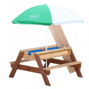 Tavolino picnic Sabbia/acqua Nick AxiPlayhouse Marrone con ombrellone