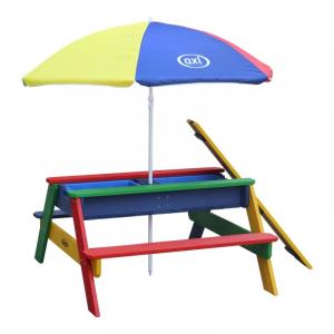 Tavolino picnic Sabbia/acqua Nick AxiPlayhouse Rainbow con ombrellone