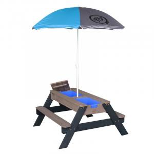 Tavolino picnic con ombrellone Sabbia/acqua Nick AxiPlayhouse Antracite/Grigio