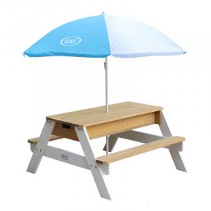 Tavolino picnic Sabbia/acqua Nick AxiPlayhouse Marrone/Bianco con ombrellone