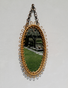 Specchio vintage ovale in bambù