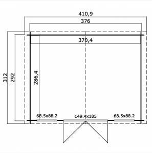 CASETTA LEGNO CM  376 X 292 SPESSORE 28mm   senza PAVIMENTO - D4
