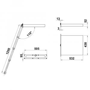 Foldaway ladder Luxury with knob