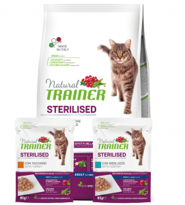 Trainer Natural Cat - Sterilizzato - 1.5kg + 2 buste OMAGGIO da 85g - SCADENZA 08/2021