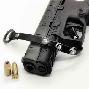Bracciale in pelle nero basic finitura canna di fucile con brillanti