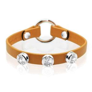 Bracciale in pelle orange basic finitura argento con brillanti