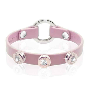 Bracciale in pelle rosa basic finitura oro rosa con brillanti