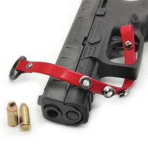 Bracciale in pelle rossa basic finitura canna di fucile con brillanti