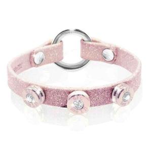 Bracciale in pelle rosa glitter finitura oro rosa con brillanti