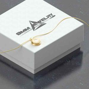 Collana con pendente finitura oro 24kt, gemma PRECIOSA neutra e catenina in argento