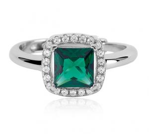 Mabina Anello Argento - Smeraldo sintetico