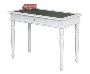 Mesa de despacho blanca y tablero en eco-cuero verde - oferta