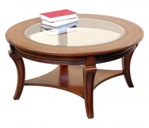 Mesa de centro redonda tablero de cristal - oferta