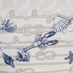 RANDI Baumwolltischdecke x12 Personen 150x240 cm FISHERMAN blau