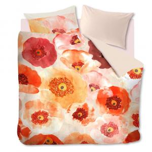 Doppel-Bettbezug und Kissenbezüge FADED POPPY rote Mohnblumen in Satin