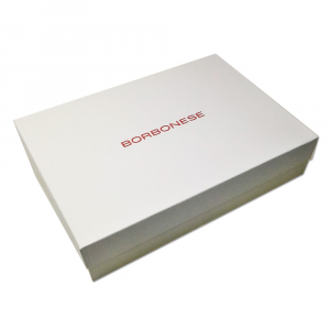 Plaid mit Borbonese Fransen 150x200 cm einzelne ASCOT Tortora in Box
