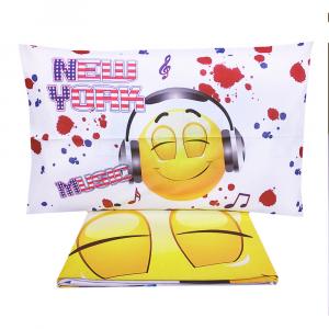 Doppel-Bettbezug mit Kissenbezügen  SMILE reine Baumwolle