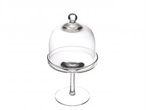 Alzata con cupola in vetro trasparente per dolci e frutta