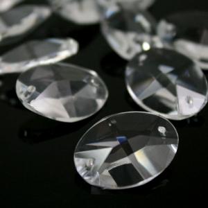Ovalino a due fori 28 mm - Cristallo Vetro molato